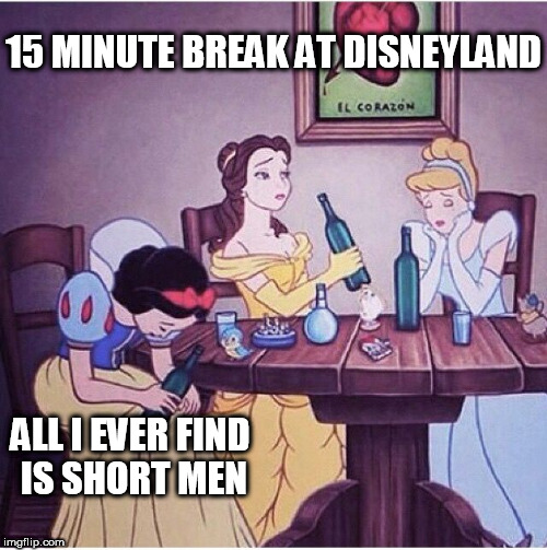 Drunk disney | 15 MINUTE BREAK AT DISNEYLAND ALL I EVER FIND IS SHORT MEN | image tagged in drunk disney | made w/ Imgflip meme maker