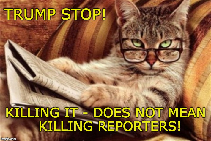Trump STOP! Killing It - does not mean killing reporters! | TRUMP STOP! KILLING IT - DOES NOT MEAN      KILLING REPORTERS! | image tagged in trump kills,instigator,inciter,inhumane,cruel,trump unfit unqualified dangerous | made w/ Imgflip meme maker