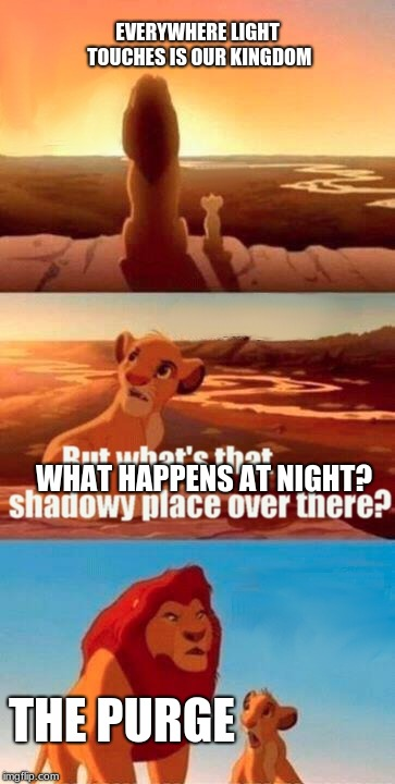 Simba Shadowy Place Meme | EVERYWHERE LIGHT TOUCHES IS OUR KINGDOM THE PURGE WHAT HAPPENS AT NIGHT? | image tagged in memes,simba shadowy place | made w/ Imgflip meme maker