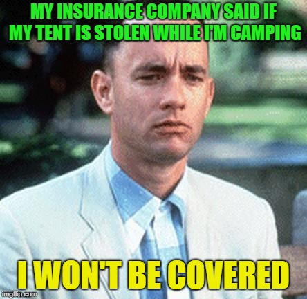 You're in good hands? | MY INSURANCE COMPANY SAID IF MY TENT IS STOLEN WHILE I'M CAMPING I WON'T BE COVERED | image tagged in forrest gump,memes,funny,tent,insurance | made w/ Imgflip meme maker