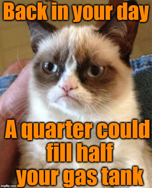 Grumpy Cat Meme | Back in your day A quarter could fill half your gas tank | image tagged in memes,grumpy cat | made w/ Imgflip meme maker
