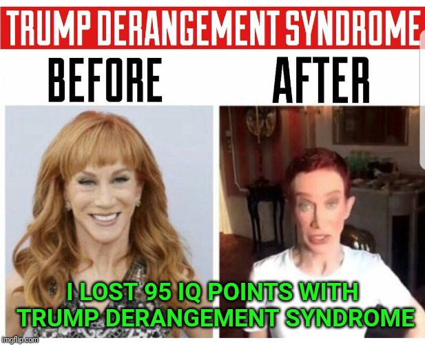 I LOST 95 IQ POINTS WITH TRUMP DERANGEMENT SYNDROME | image tagged in kathy griffin,anti trump | made w/ Imgflip meme maker