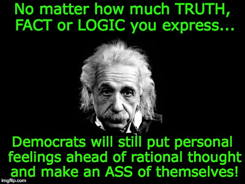 Albert Einstein 1 Meme | No matter how much TRUTH, FACT or LOGIC you express... Democrats will still put personal feelings ahead of rational thought and make an ASS  | image tagged in memes,albert einstein 1 | made w/ Imgflip meme maker