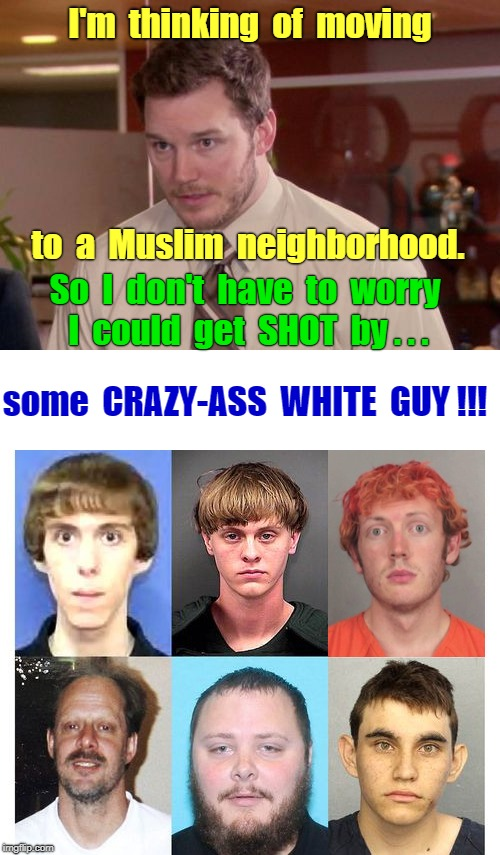 Afraid to Ask Andy | I'm  thinking  of  moving to  a  Muslim  neighborhood. So  I  don't  have  to  worry  I  could  get  SHOT  by . . . some  CRAZY-ASS  WHITE   | image tagged in memes,mass shootings,afraid to ask andy,muslims | made w/ Imgflip meme maker