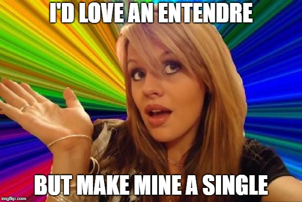 Double entendre anyone? | I'D LOVE AN ENTENDRE BUT MAKE MINE A SINGLE | image tagged in stupid girl meme,double entendres | made w/ Imgflip meme maker
