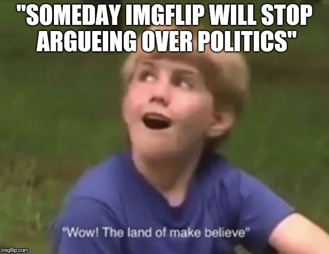 "The Land of Make Believe | ""SOMEDAY IMGFLIP WILL STOP ARGUEING OVER POLITICS"" 