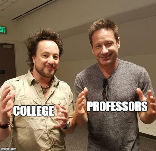 Double Aliens | COLLEGE PROFESSORS | image tagged in double aliens | made w/ Imgflip meme maker
