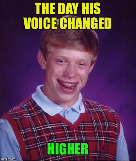 Bad Luck Brian Meme | THE DAY HIS VOICE CHANGED HIGHER | image tagged in memes,bad luck brian | made w/ Imgflip meme maker