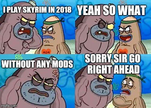 How Tough Are You Meme | I PLAY SKYRIM IN 2018 YEAH SO WHAT WITHOUT ANY MODS SORRY SIR GO RIGHT AHEAD | image tagged in memes,how tough are you | made w/ Imgflip meme maker