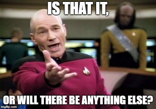 Picard Wtf |  IS THAT IT, OR WILL THERE BE ANYTHING ELSE? | image tagged in memes,picard wtf | made w/ Imgflip meme maker