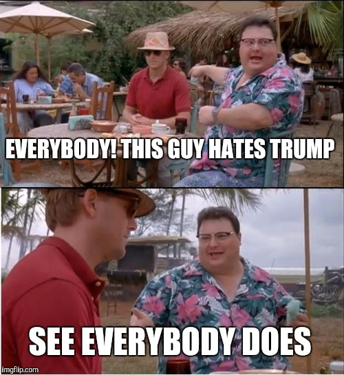 See Nobody Cares Meme | EVERYBODY! THIS GUY HATES TRUMP SEE EVERYBODY DOES | image tagged in memes,see nobody cares | made w/ Imgflip meme maker