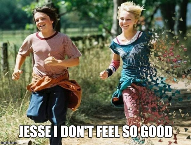 JESSE I DON'T FEEL SO GOOD | image tagged in bridge to terabithia | made w/ Imgflip meme maker