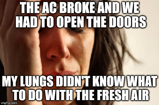First World Problems Meme | THE AC BROKE AND WE HAD TO OPEN THE DOORS MY LUNGS DIDN'T KNOW WHAT TO DO WITH THE FRESH AIR | image tagged in memes,first world problems | made w/ Imgflip meme maker
