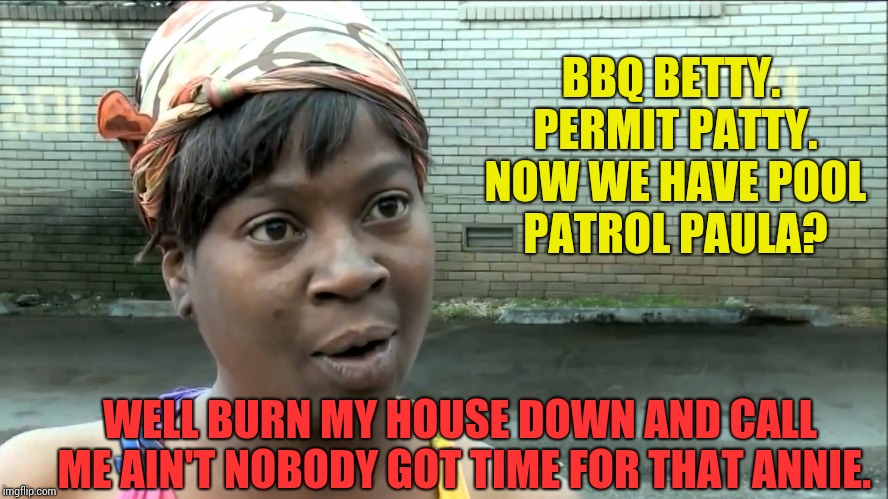 Aint Nobody Got Time | BBQ BETTY. PERMIT PATTY. NOW WE HAVE POOL PATROL PAULA? WELL BURN MY HOUSE DOWN AND CALL ME AIN'T NOBODY GOT TIME FOR THAT ANNIE. | image tagged in aint nobody got time | made w/ Imgflip meme maker