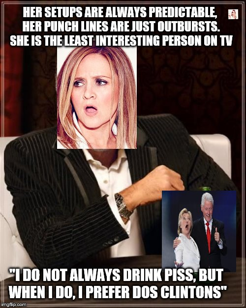 "Least interesting | HER SETUPS ARE ALWAYS PREDICTABLE, HER PUNCH LINES ARE JUST OUTBURSTS. SHE IS THE LEAST INTERESTING PERSON ON TV ""I DO NOT ALWAYS DRINK PISS 