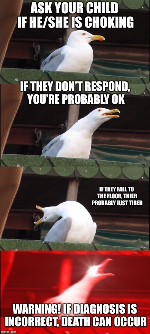 Inhaling Seagull Meme | ASK YOUR CHILD IF HE/SHE IS CHOKING IF THEY DON'T RESPOND, YOU'RE PROBABLY OK IF THEY FALL TO THE FLOOR, THIER PROBABLY JUST TIRED WARNING!  | image tagged in memes,inhaling seagull | made w/ Imgflip meme maker