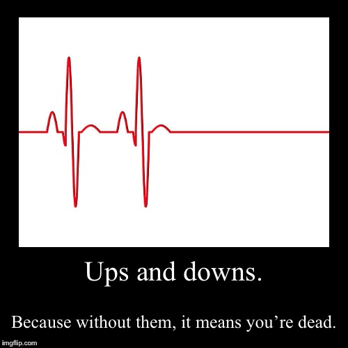 Ups and downs. | Because without them, it means you're dead. | image tagged in funny,demotivationals | made w/ Imgflip demotivational maker