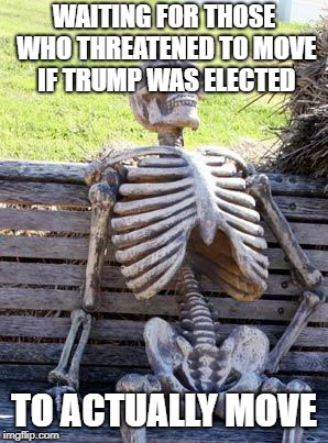 Waiting Skeleton Meme | WAITING FOR THOSE WHO THREATENED TO MOVE IF TRUMP WAS ELECTED TO ACTUALLY MOVE | image tagged in memes,waiting skeleton | made w/ Imgflip meme maker