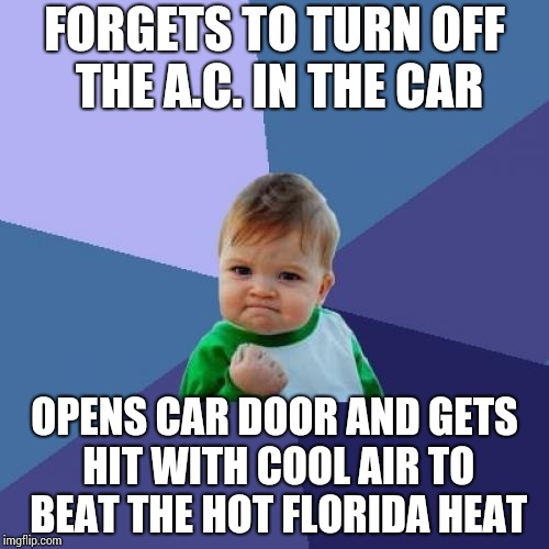Success Kid Meme | FORGETS TO TURN OFF THE A.C. IN THE CAR OPENS CAR DOOR AND GETS HIT WITH COOL AIR TO BEAT THE HOT FLORIDA HEAT | image tagged in memes,success kid | made w/ Imgflip meme maker