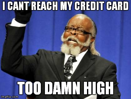 Too Damn High Meme | I CANT REACH MY CREDIT CARD TOO DAMN HIGH | image tagged in memes,too damn high | made w/ Imgflip meme maker