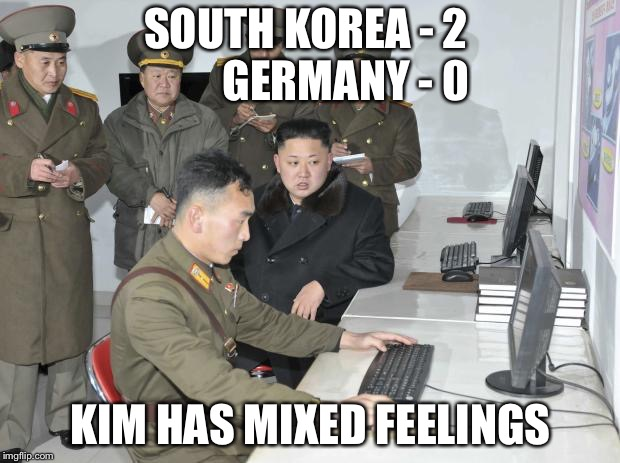 Kim has mixed feelings | SOUTH KOREA - 2         GERMANY - 0 KIM HAS MIXED FEELINGS | image tagged in north koreans watching world cup | made w/ Imgflip meme maker