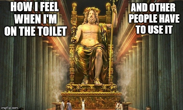 One reason why I live alone.  | HOW I FEEL WHEN I'M ON THE TOILET AND OTHER PEOPLE HAVE TO USE IT | image tagged in toilet,superiority,line for the restroom | made w/ Imgflip meme maker