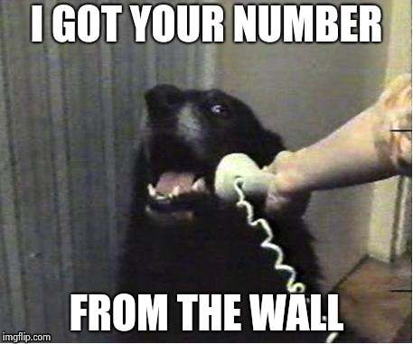 It's for you | I GOT YOUR NUMBER FROM THE WALL | image tagged in it's for you | made w/ Imgflip meme maker