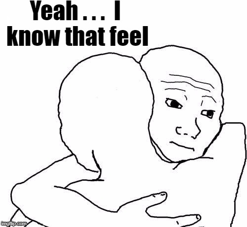 awww hug | Yeah . . .  I know that feel | image tagged in awww hug | made w/ Imgflip meme maker