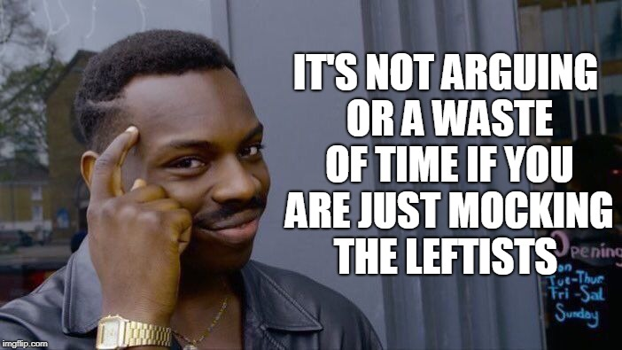 Roll Safe Think About It Meme | IT'S NOT ARGUING OR A WASTE OF TIME IF YOU ARE JUST MOCKING THE LEFTISTS | image tagged in memes,roll safe think about it | made w/ Imgflip meme maker