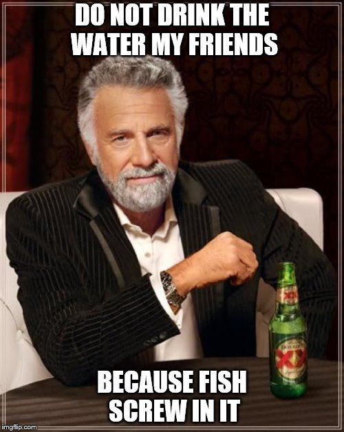 Choose adult beverages. Alcohol kills that mental image of copulating cods! | DO NOT DRINK THE WATER MY FRIENDS BECAUSE FISH SCREW IN IT | image tagged in memes,the most interesting man in the world,words of wisdom,alcohol | made w/ Imgflip meme maker