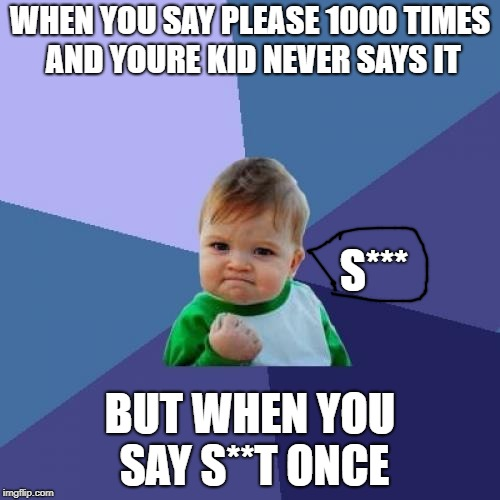 Bad words | WHEN YOU SAY PLEASE 1000 TIMES AND YOURE KID NEVER SAYS IT BUT WHEN YOU SAY S**T ONCE S*** | image tagged in memes,success kid | made w/ Imgflip meme maker