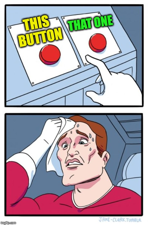 Two Buttons Meme | THIS BUTTON THAT ONE | image tagged in memes,two buttons | made w/ Imgflip meme maker