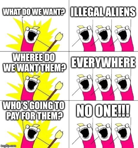 What Do We Want 3 Meme | WHAT DO WE WANT? ILLEGAL ALIENS WHEREE DO WE WANT THEM? EVERYWHERE WHO'S GOING TO PAY FOR THEM? NO ONE!!! | image tagged in memes,what do we want 3 | made w/ Imgflip meme maker