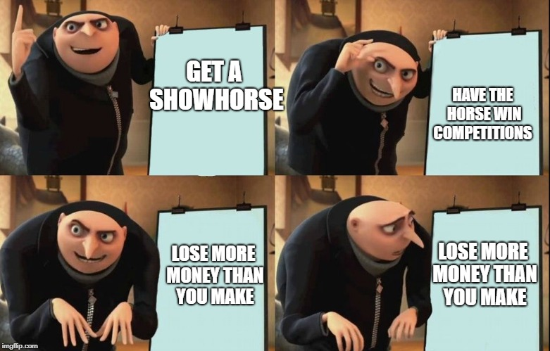 It's a gamble | GET A SHOWHORSE HAVE THE HORSE WIN COMPETITIONS LOSE MORE MONEY THAN YOU MAKE LOSE MORE MONEY THAN YOU MAKE | image tagged in despicable me diabolical plan gru template,horse,horses,show,money,competition | made w/ Imgflip meme maker