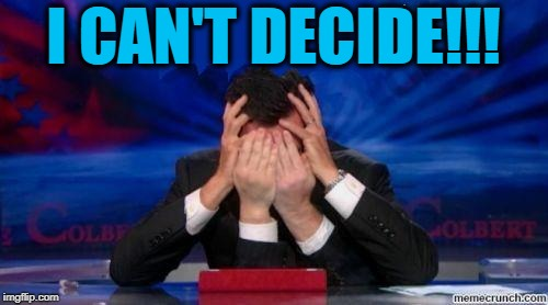 stephen colbert face palms | I CAN'T DECIDE!!! | image tagged in stephen colbert face palms | made w/ Imgflip meme maker