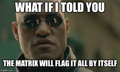 Matrix Morpheus Meme | WHAT IF I TOLD YOU THE MATRIX WILL FLAG IT ALL BY ITSELF | image tagged in memes,matrix morpheus | made w/ Imgflip meme maker