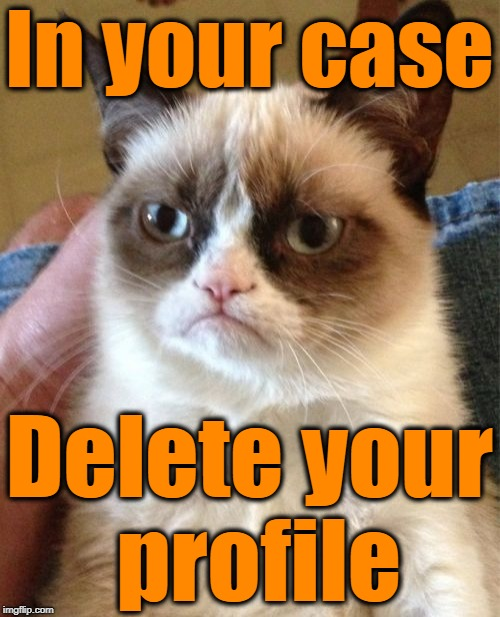 Grumpy Cat Meme | In your case Delete your profile | image tagged in memes,grumpy cat | made w/ Imgflip meme maker