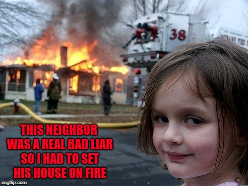 Disaster Girl Meme | THIS NEIGHBOR WAS A REAL BAD LIAR SO I HAD TO SET HIS HOUSE ON FIRE | image tagged in memes,disaster girl | made w/ Imgflip meme maker