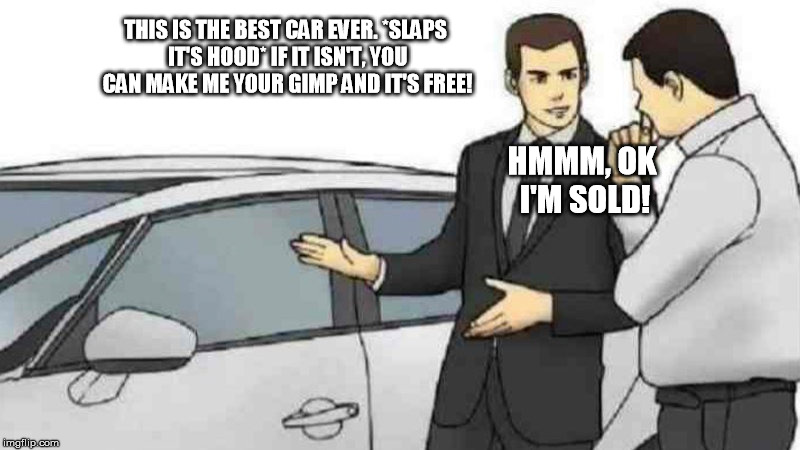 That's a hard bargain to pass up! | THIS IS THE BEST CAR EVER. *SLAPS IT'S HOOD* IF IT ISN'T, YOU CAN MAKE ME YOUR GIMP AND IT'S FREE! HMMM, OK I'M SOLD! | image tagged in carsalesman | made w/ Imgflip meme maker