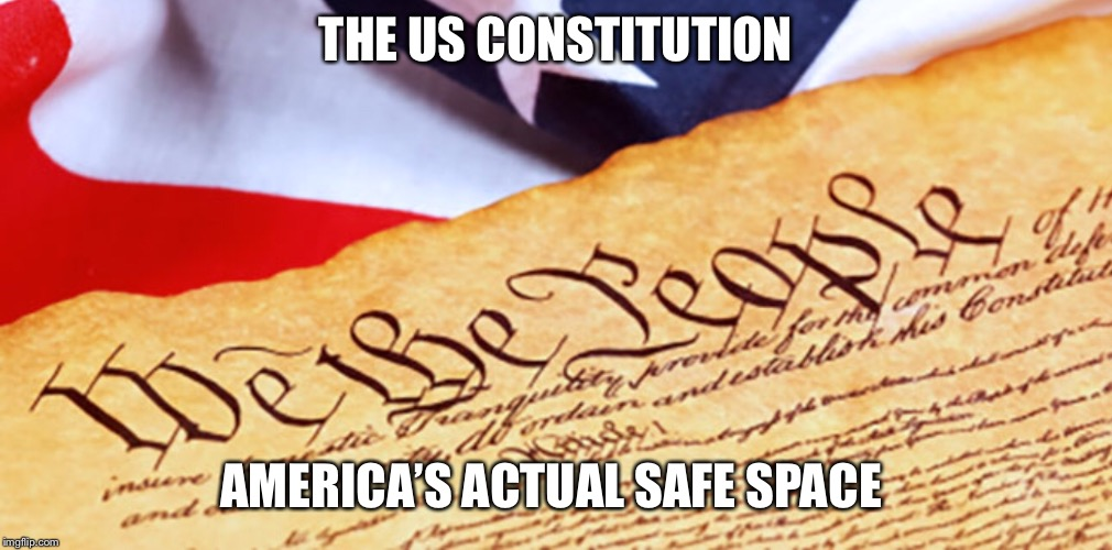 America's safe space | THE US CONSTITUTION AMERICA'S ACTUAL SAFE SPACE | image tagged in constitution | made w/ Imgflip meme maker