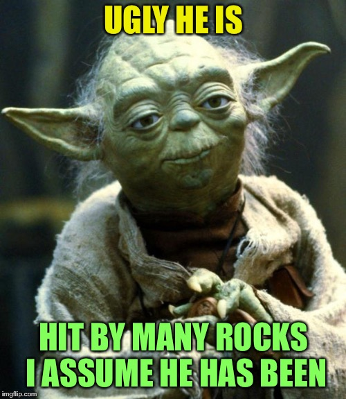 Star Wars Yoda Meme | UGLY HE IS HIT BY MANY ROCKS I ASSUME HE HAS BEEN | image tagged in memes,star wars yoda | made w/ Imgflip meme maker