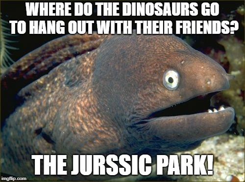 Bad Joke Eel Meme | WHERE DO THE DINOSAURS GO TO HANG OUT WITH THEIR FRIENDS? THE JURSSIC PARK! | image tagged in memes,bad joke eel | made w/ Imgflip meme maker