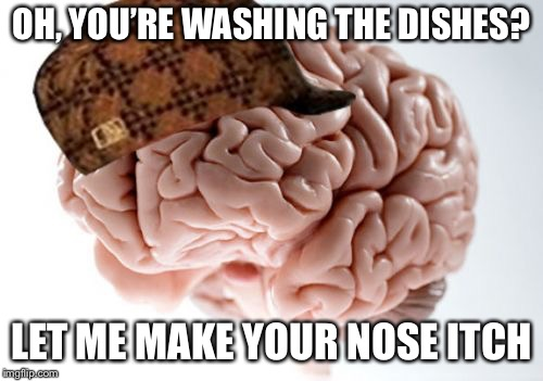 Scumbag Brain | OH, YOU'RE WASHING THE DISHES? LET ME MAKE YOUR NOSE ITCH | image tagged in memes,scumbag brain | made w/ Imgflip meme maker