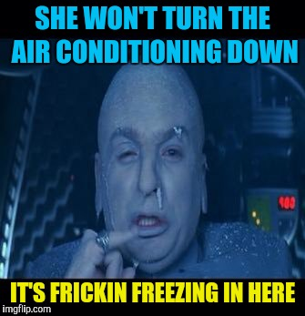 SHE WON'T TURN THE AIR CONDITIONING DOWN IT'S FRICKIN FREEZING IN HERE | image tagged in memes,dr evil,air conditioner,freezing | made w/ Imgflip meme maker