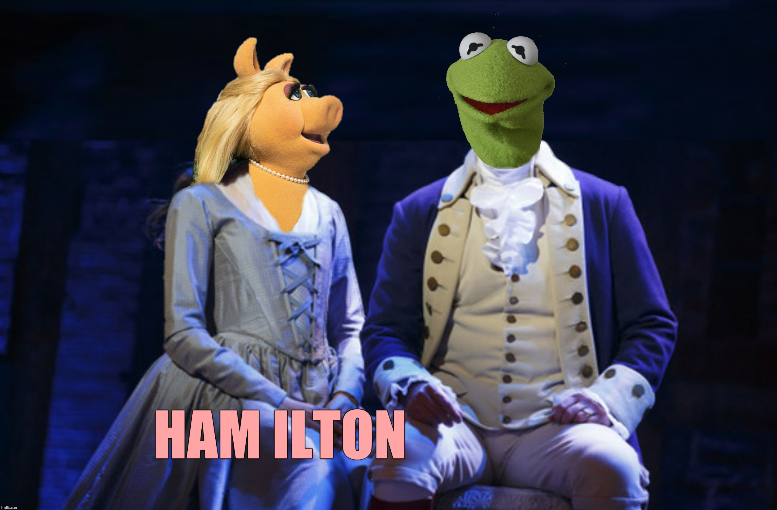 Bad Photoshop Sunday presents:  Give me bacon or give me death! | HAM ILTON | image tagged in bad photoshop sunday,hamilton,miss piggy,kermit the frog,muppets | made w/ Imgflip meme maker