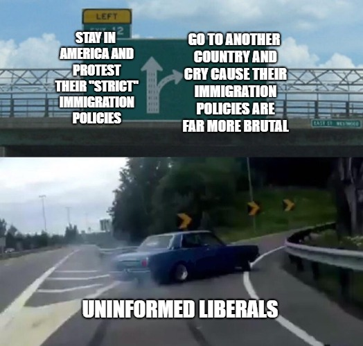 "Left Exit 12 Off Ramp Meme | STAY IN AMERICA AND PROTEST THEIR ""STRICT"" IMMIGRATION POLICIES GO TO ANOTHER COUNTRY AND CRY CAUSE THEIR IMMIGRATION POLICIES ARE FAR MORE  