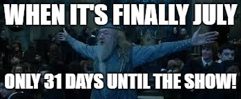 Harry Potter | WHEN IT'S FINALLY JULY ONLY 31 DAYS UNTIL THE SHOW! | image tagged in harry potter | made w/ Imgflip meme maker