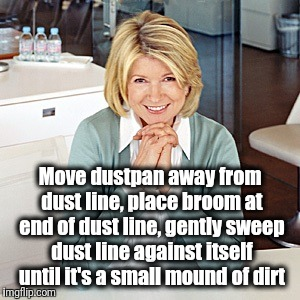 martha stewart | Move dustpan away from dust line, place broom at end of dust line, gently sweep dust line against itself until it's a small mound of dirt | image tagged in martha stewart | made w/ Imgflip meme maker