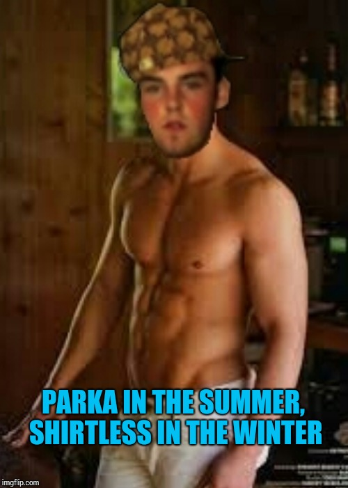 PARKA IN THE SUMMER, SHIRTLESS IN THE WINTER | made w/ Imgflip meme maker