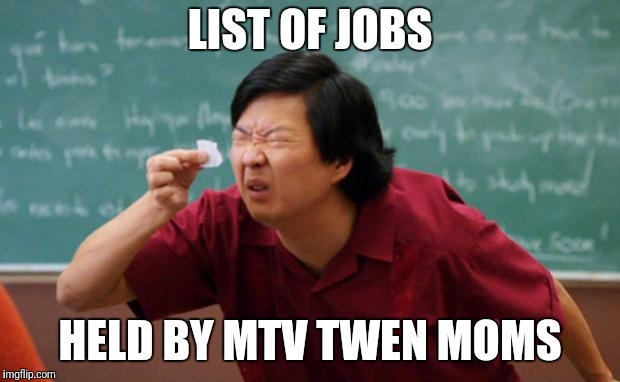 Senior Chang Squinting | LIST OF JOBS HELD BY MTV TWEN MOMS | image tagged in senior chang squinting | made w/ Imgflip meme maker